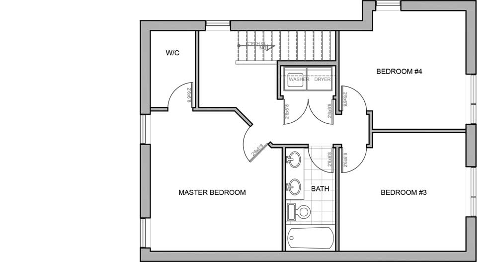 Upper floor plan - new energy efficient home Invermere BC